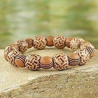 Wood and recycled plastic beaded stretch bracelet, 'Godly Love' - Rustic Wood and Recycled Plastic Beaded Stretch Bracelet