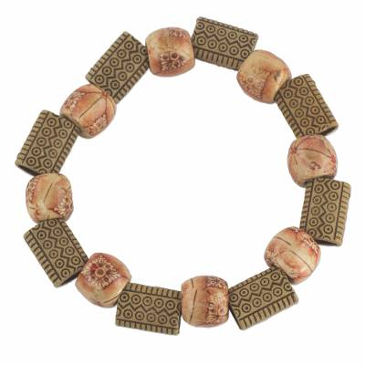 Wood and Recycled Plastic Beaded Floral Stretch Bracelet