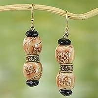 Wood and recycled plastic dangle earrings, 'Rustic Melodies' - Floral Wood and Recycled Plastic Dangle Earrings from Ghana