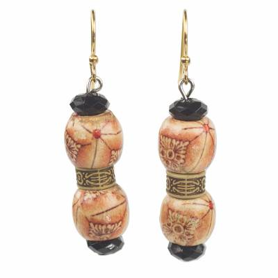 Floral Wood and Recycled Plastic Dangle Earrings from Ghana
