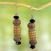 Beaded dangle earrings, 'Stars of Favor' - Handmade West African Recycled Plastic Beaded Hook Earrings