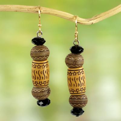 Beaded dangle earrings, 'Stars of Favor' - Handmade West African Recycled Plastic Beaded Hook Earrings