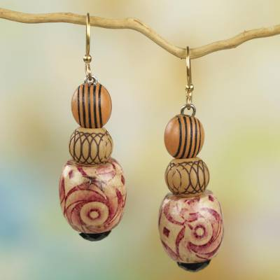 Wood and recycled plastic beaded earrings, 'Dancing Hope' - Wood and Recycled Plastic Beaded Dangle Earrings from Ghana