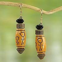 Beaded dangle earrings, 'Tulip Love' - Fair Trade West African Recycled Plastic Beaded Earrings