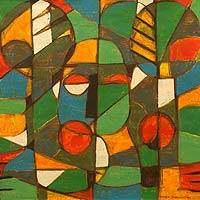 'Africa Economy' - Multicolored Abstract Signed Painting from Ghana