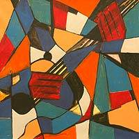 'Rhythm and Mind' - Multicolored Abstract Musical Painting from Ghana