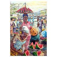 'After the Rain' - Impressionist Painting of Market Scene with Watermelon Ghana