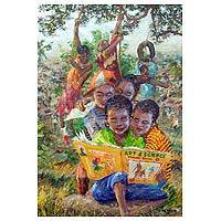 'Hobby' - Signed Art Impressionist Painting of Children from Ghana
