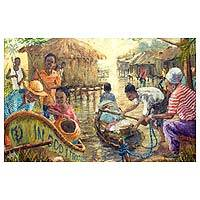 'Life at the Lagoon' - Signed Impressionist Painting of People at Lagoon from Ghana