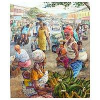 'Talk of the Town' (2014) - Acrylic Impressionist Painting of Cityscape from Ghana