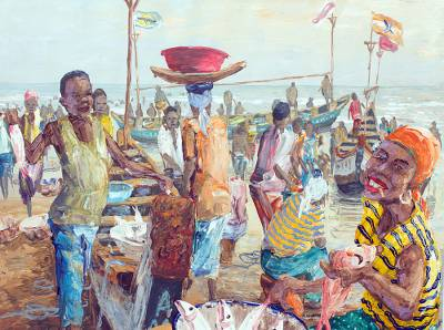 'Avenue of Expression' - Impressionist Painting of People in Beach Scene from Ghana