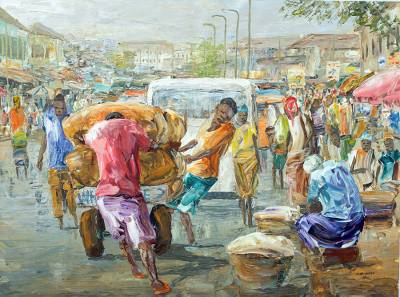 'Labor Force' - Impressionist Painting of Workers in Cityscape from Ghana