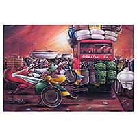 'Rush Hour' - Acrylic Caricature Painting of a Market Scene from Ghana