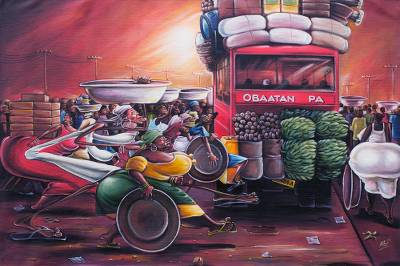 Acrylic Caricature Painting of a Market Scene from Ghana