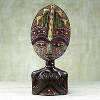 African wood sculpture, 'Loving Woman' - Hand Carved West African Sese Wood Tabletop Sculpture