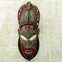 African wood mask, 'Truth Seeker' - Ghanaian Hand Crafted Sese Wood Aluminum & Brass Wall Mask