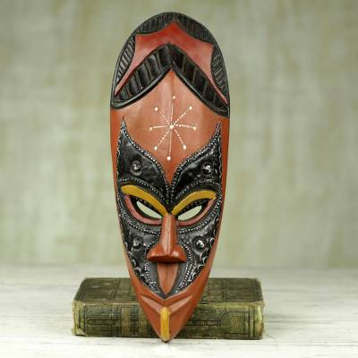 African wood mask, 'Righteous' - Hand Carved Sese Wood African Mask from Ghana