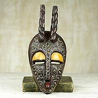 African wood mask, 'Age of Poro' - Hand Carved Sese Wood Wall Mask with Horns from Ghana