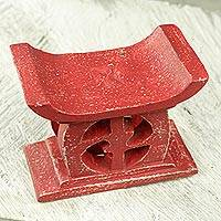 Wood mini decorative stool, 'Adrinka in Red' - Hand Carved Red Mini Wood Decorative Stool from Ghana
