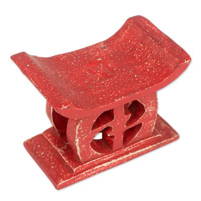 Wood decorative stool, 'Adrinka in Red' - Hand Carved Red Sese Wood Decorative Stool from Ghana