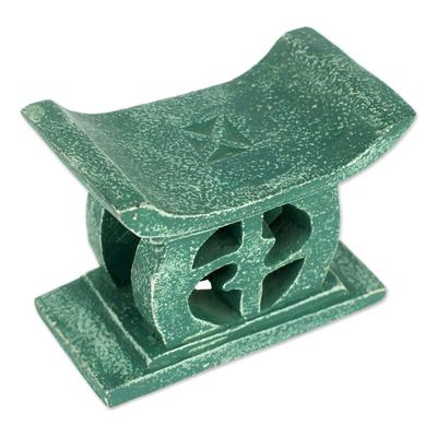 Wood mini decorative stool, 'Adinkra in Green' - Hand Carved Green Mini Wood Decorative Stool from Ghana