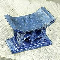 Wood mini decorative stool, 'Adinkra in Blue' - Hand Carved Blue Mini Wood Decorative Stool from Ghana
