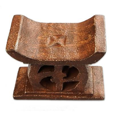 Wood mini decorative stool, 'Adinkra in Brown' - Hand Carved Mini Wood Decorative Stool from Ghana