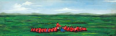 'Conference of Elders' - Acrylic Impressionist Painting of Landscape in Ghana