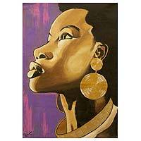 'Her Royal Highness' - Acrylic Expressionist Painting of a Woman from Ghana