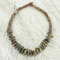 Soapstone beaded pendant necklace, 'Beautiful Adom'