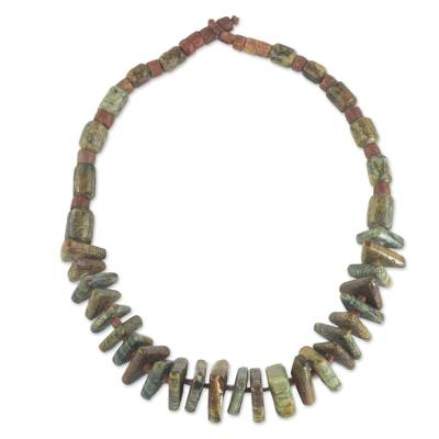 Soapstone beaded pendant necklace, 'Beautiful Adom' - Soapstone and Bauxite Beaded Pendant Necklace from Ghana