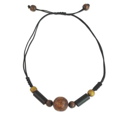 Sese Wood and Bamboo Cord Pendant Necklace from Ghana