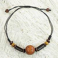 Wood pendant necklace, 'Mighty Orb' - Sese Wood and Bamboo Pendant Necklace from Ghana