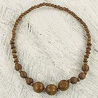 Wood beaded necklace, 'Simply Bold'