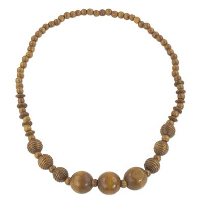 Wood beaded necklace, 'Simply Bold' - Brown Sese Wood Beaded Necklace from Ghana