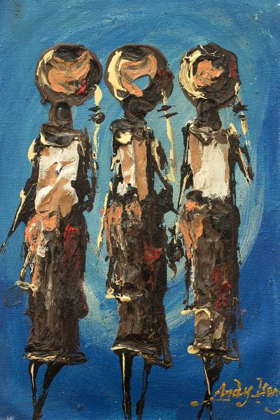 'To The Riverside' - Blue Impressionist Painting of Women from Ghana
