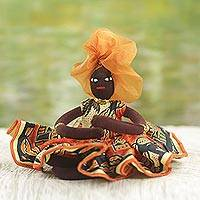 Cotton decorative doll, 'African Mother in Persimmon'