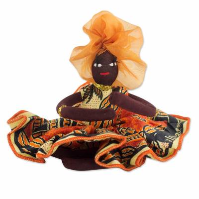 Cotton decorative doll, 'African Mother in Persimmon' - Hand Made Collectible Cotton Doll in Persimmon from Ghana
