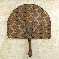 Cotton fan, 'Denkyem' - Hand Crafted Cotton Crocodile Motif Fan with Wood Handle