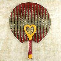 Cotton fan, 'Kwele King' - Cotton and Wood Fan in Claret and Marigold from Ghana
