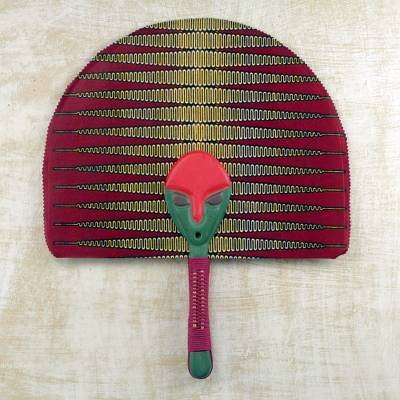 Cotton fan, 'Peaceful Adam Nana' - Cotton and Wood Fan in Green Claret and Marigold from Ghana