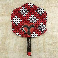 Cotton wood fan, 'Kokoo Love' - Cotton and Wood Fan in Candy Apple and Black from Ghana