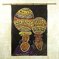 Cotton batik wall hanging, 'Women of Substance' - Hand Made Cotton Batik Wall Hanging of African Women Working