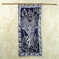 Cotton batik wall hanging, 'Crowning of a King' - Cotton Batik Wall Hanging of African King Being Crowned