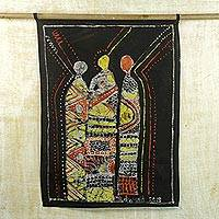 Cotton batik wall hanging, 'Traditional African Leaders Forum' - Cotton Batik Wall Hanging from Africa with Geometric Design