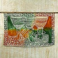Cotton batik wall hanging, 'Dignity in Labor' - Ghanaian Cotton Batik Wall Hanging of Women with Baskets