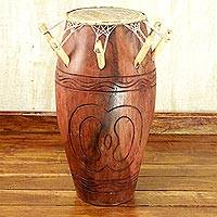 Wood kpanlogo drum, 'Symbol of Hope' - Tweneboa Wood and Goatskin Kpanlogo Drum from Ghana