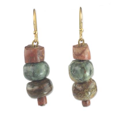 Soapstone dangle earrings, 'Rustic Joy' - Soapstone and Bauxite Bead Dangle Earrings from Ghana