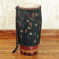 Wood bougarabou drum, 'Traditional Beat' - Hand Crafted Tweneboa Wood Bougarabou Drum from Ghana