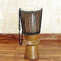Wood djembe drum, 'Royal Drum' - Professionally Tuned Tweneboa Wood Djembe Drum from Ghana
